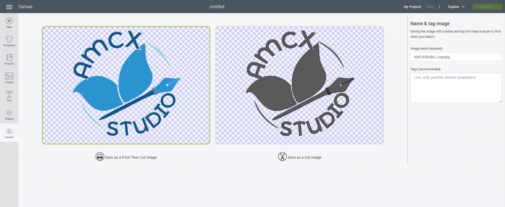 Uploading files into design space - print and cut versions