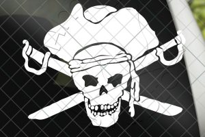 Pirate Skull and Cross Bones Vinyl Decal Sticker