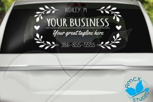 Pretty Leaves Cute Custom Business Car Decal